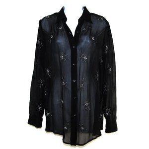 NY&CO Women's Sheer Beaded Black Blouse Tunic